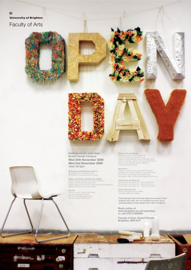Thomas collins to create an open day poster for brighton university